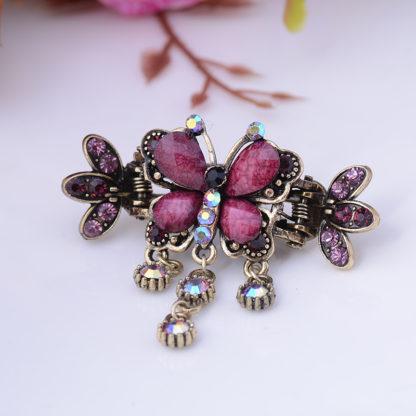 Purple Antique Bronze Metal Rhinestone Butterfly Hair Clip Claw