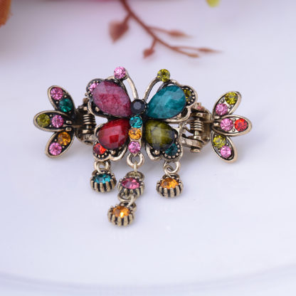 Multicolor Antique Bronze Metal Rhinestone Butterfly Hair Clip Claw