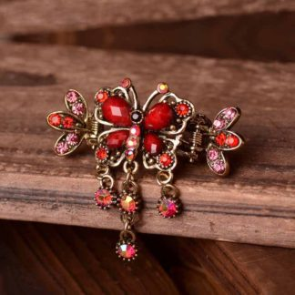 Red Antique Bronze Metal Rhinestone Butterfly Hair Clip Claw Main