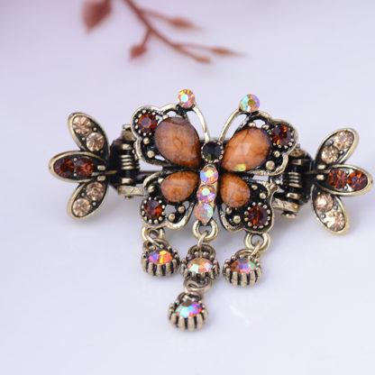 Brown Antique Bronze Metal Rhinestone Butterfly Hair Clip Claw