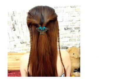 Blue Modeled Rhinstone Butterfly Hair Barrette Metal