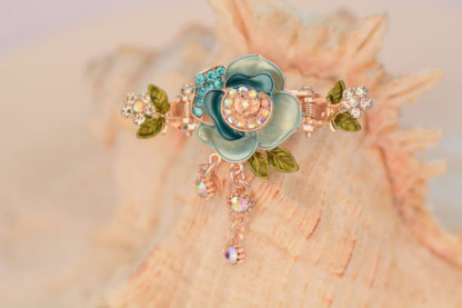 Blue Painted Rose Flower Metal Hair Clip Claw