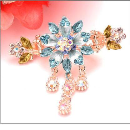 Blue Painted 5 Petal Flower Metal Hair Clip Claw