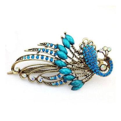 Blue Peacock Hair Clip