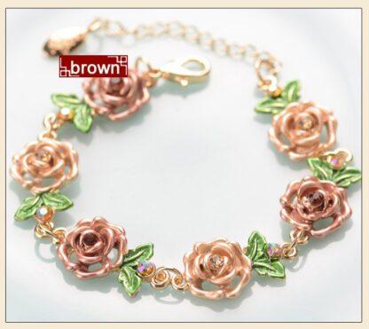 Brown Painted Flower Metal Braclet Chain