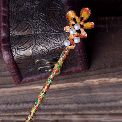 Orange and Green Scalloped Oak Leaf Enameled Metal Hairpin