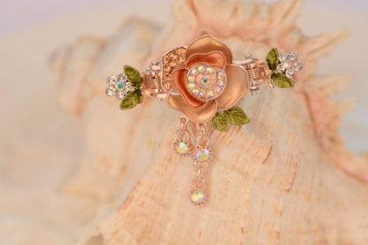 Brown Painted Rose Flower Metal Hair Clip Claw