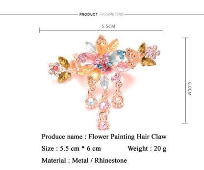 Measure Painted 5 Petal Flower Metal Hair Clip Claw