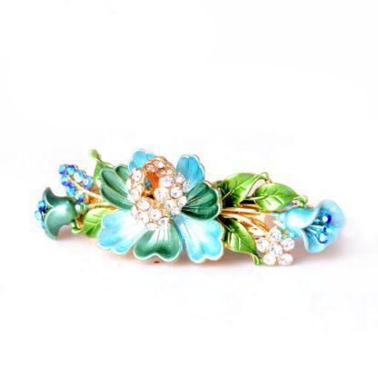Blue Luau Flower Painted Metal Hair Barrette