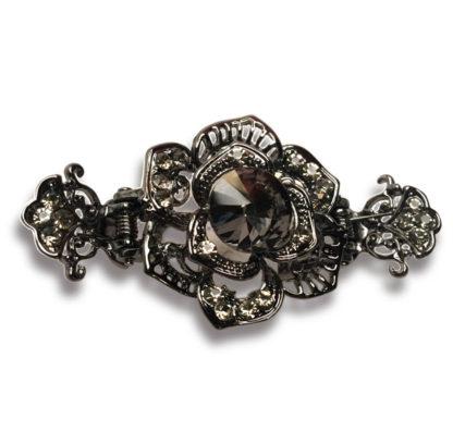Gray Rose Black Metal Hair Claw Clip