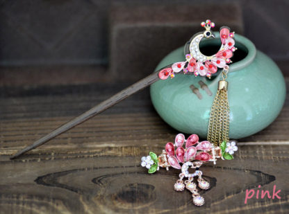 Pink Painted Peacock Hairpin and Hair Clip set Metal