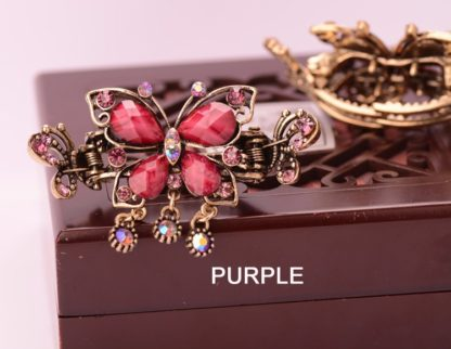 Purple Antique Rhinestone Butterfly with Outline Metal Hair Clip Claw