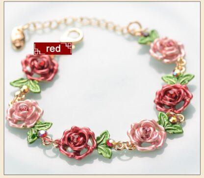 Red Painted Flower Metal Braclet Chain