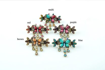 All Colors Antique Bronze Metal Rhinestone Butterfly Hair Clip Claw