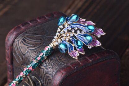 Dark Blue Chinese Enamel Closine Hairpin