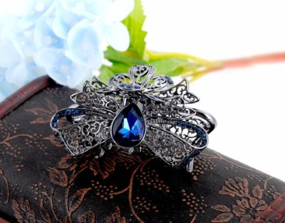 Blue Metal Fancy Hair Claw Angled