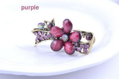 Purple Metal Mini Hair Clip five Petal with Ribbon