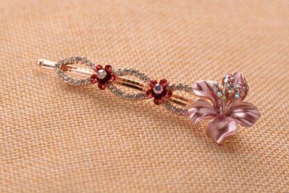 Pink Luau Flower Painted Metal Bobby Pin
