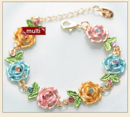 Multi Painted Flower Metal Braclet Chain