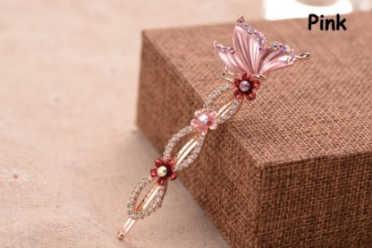 Pink Painted Butterfly Bobby Pin