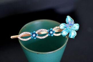 Blue Luau Flower Painted Metal Bobby Pin