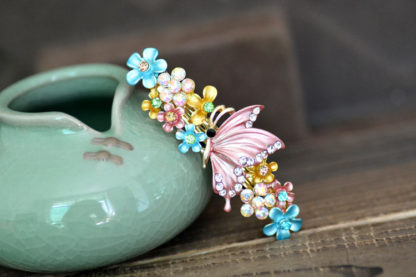 Multi-Color Painted Butterfly Barrette Metal