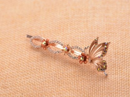 Brown Painted Butterfly Bobby Pin