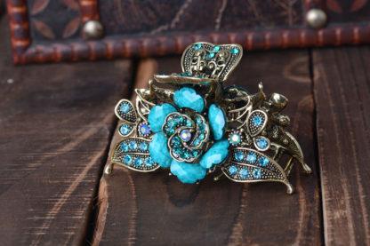 Blue Antique Rose Rhinestone Metal Hair Claw