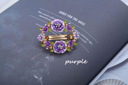 Purple Painted RoseFlower Open Center Hair Barrette