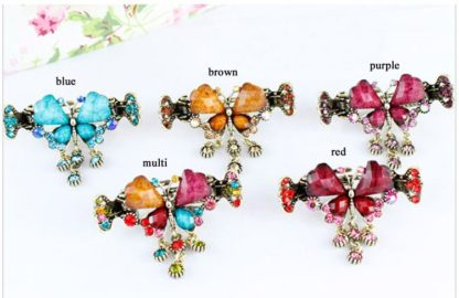 All Colors Retro Rhinestone Butterfly Shaped Hair Claw Clip