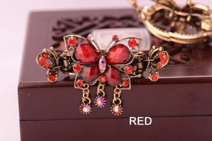 Red Antique Rhinestone Butterfly with Outline Metal Hair Clip Claw