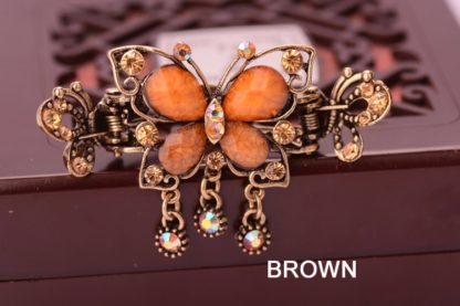 Brown Antique Rhinestone Butterfly with Outline Metal Hair Clip Claw