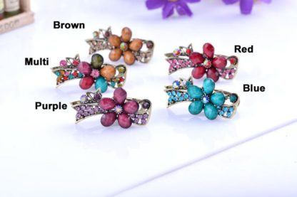 All Colors Metal Mini Hair Clip five Petal with Ribbon