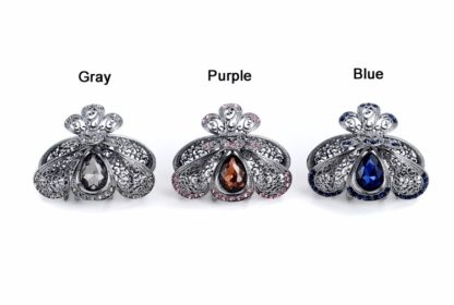 All Colors Teardrop Rhinestone Metal Fancy Hair Claw Rounded