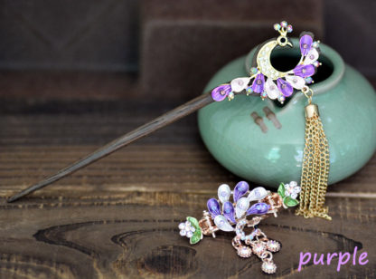 Purple Painted Peacock Hairpin and Hair Clip set Meta