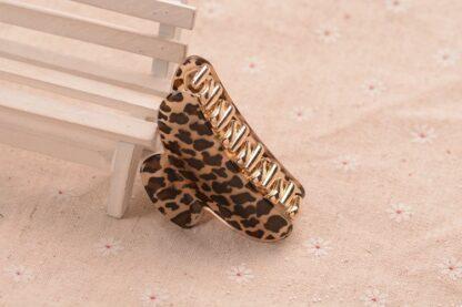 Black Leopard Pattern Hair Claw Acrylic