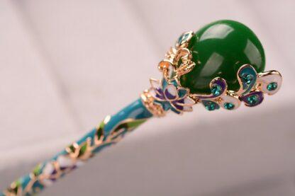 Detail Blue Green Enameled Hairpin Resin Drop