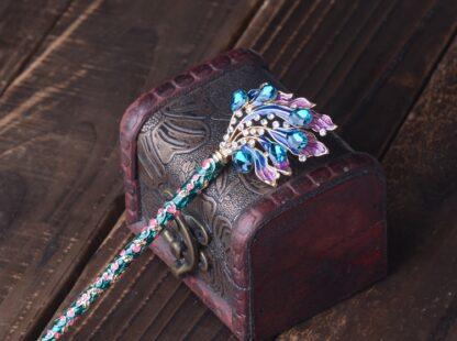 Light Blue/Green Enameled Cloisonne Hair Pin