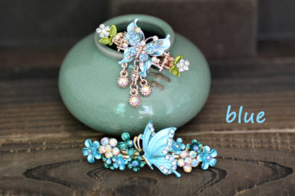 blue butterfly hair clip and barrette set