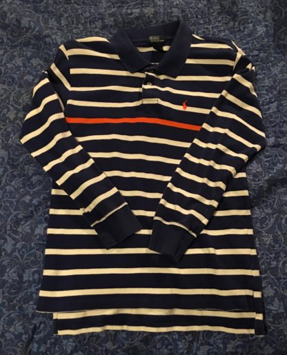 Ralph Lauren Polo Blue White Stripe Single Orage Stripe Long Sleeve Shirt