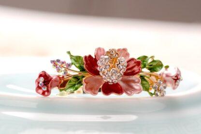 Pink Luau Flower Painted Metal Hair Barrette