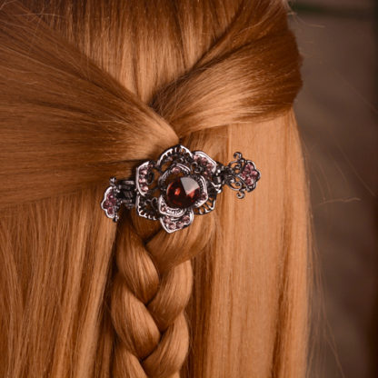 Modeled Rose Black Metal Hair Claw Clip