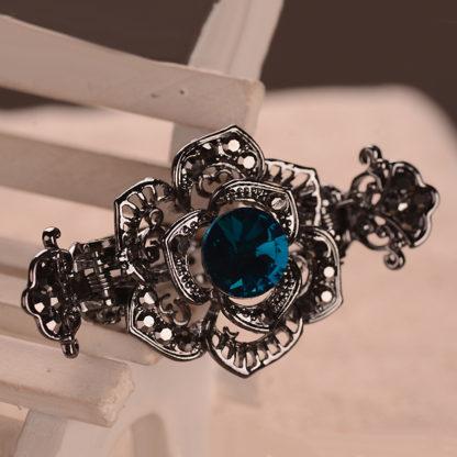 Dark Blue Rose Black Metal Hair Claw Clip