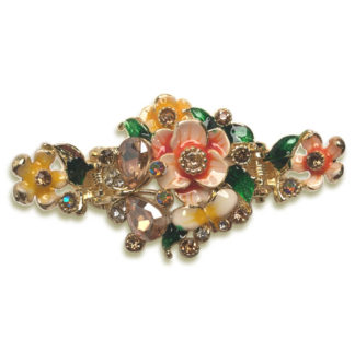 Orange Enameled Painted Flower and Butterfly Hair Claw