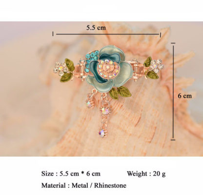 Measured Painted Rose Flower Metal Hair Clip Claw
