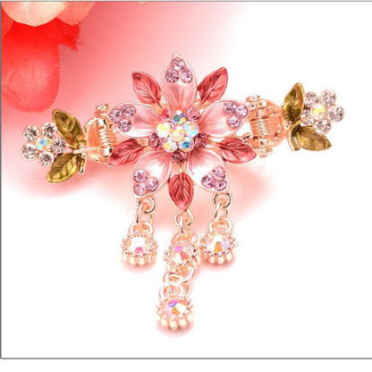 Pink Painted 5 Petal Flower Metal Hair Clip Claw