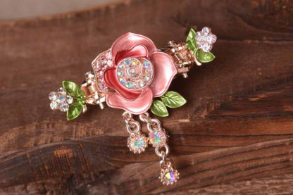 Pink Painted Rose Flower Metal Hair Clip Claw