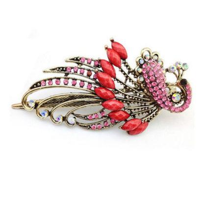 Pink Peacock Hair Clip