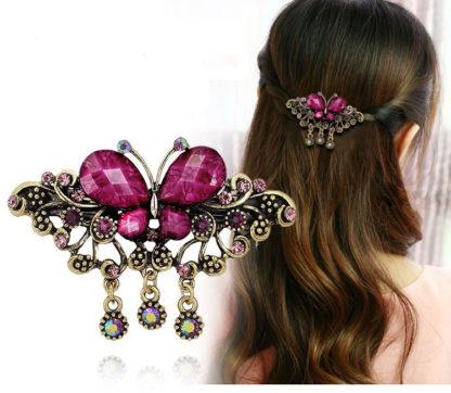 Purple Modeled Rhinstone Butterfly Hair Barrette Metal
