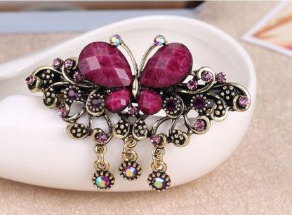 Purple Rhinstone Butterfly Hair Barrette Metal